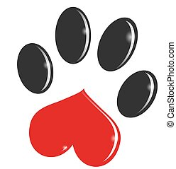 Paw Print cartoon isolated on white background. clip art illustration