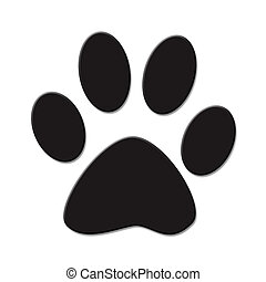 Cute (cat or dog) paw print. Black on white background