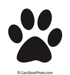 Paw print - Cute (cat or dog) paw print. Black on white...