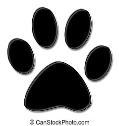Paw print - Cute dog or cat paw print, isolated on white