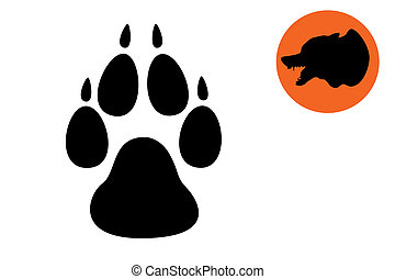 Paw print - Dog paw print Black on white background. Print...