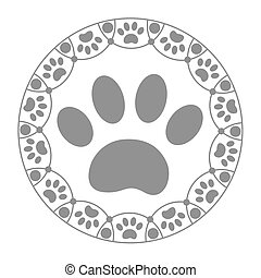 Paw print dog. - Paw print dog in the ring on a white ...