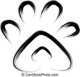paw print - brush sketch of animal paw print