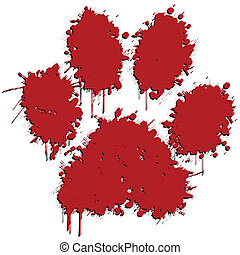 Paw Print - Illustration of a red paw print on a white...