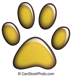 Paw Print - Illustration of golden paws on a white...