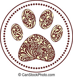 paw print - vector illustration of floral animal paw print...