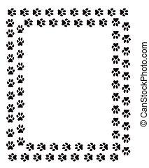 Black paw print frame, cute cat paws