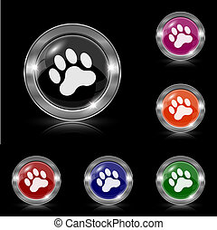 Paw print icon - Silver shiny icons - six colors vector set...