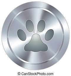 Paw print icon on industrial button - Paw print or pet icon...