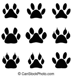 Paw print icon set