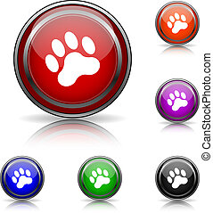 Paw print icon - Shiny glossy colored icons - six colors ...
