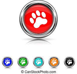 Paw print icon - six colours set
