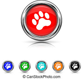 Paw print icon - six colours set
