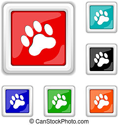 Paw print icon - Square shiny icons - six colors vector set...