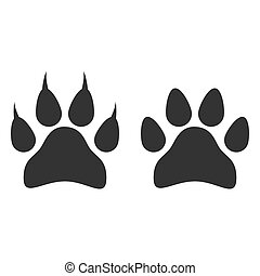 Paw print icon. Vector illustration, flat design.