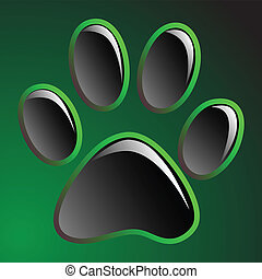 Paw Print - Illustration animals paws print on a black...