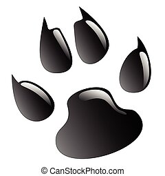 Paw Print - Illustration animals paws print on a white...