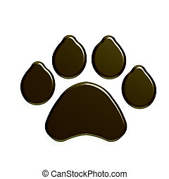 Paw Print isolated in white background. 3D Render Illustration