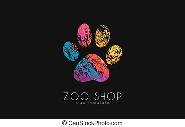 paw print logo. Creative animal logo. zoo logo. zoo shop. ...