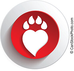 Paw print love background.Vector