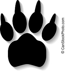 Paw print on white background