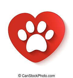 paw print over heart shape