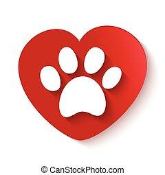 paw print over heart shape