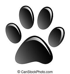 Print black paws on a white background.