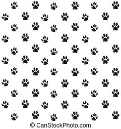 Paw Print - Print black paws on a white background.