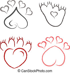 paw print set - set of outline abstract love paw prints in ...