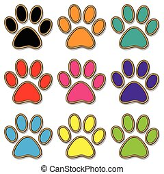 Paw Print set - Illustration paw print set in different...