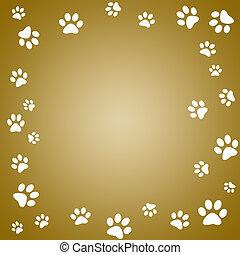 Paw print - Brown paw print frame with white paw prints