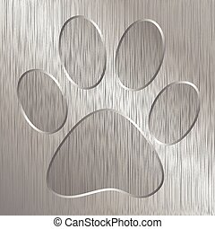 Paw Print - Illustration of dog paw on a metal plate...