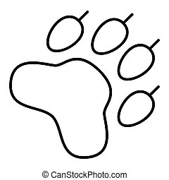 Paw Print. Vector icon. Flat outline design. eps 10
