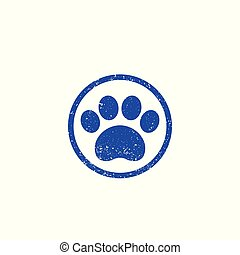 paw print, vector logo with texture