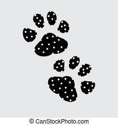 Paw Print. Vector on grey background EPS10.