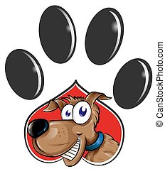 Paw Print with dog cartoon isolated on white background. clip art