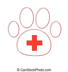 Paw print with red medical cross. Isolated.