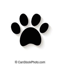 paw print with shadow - paw print icon with shadow isolated...