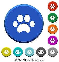 Paw prints beveled buttons