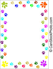 Paw prints border. - Colourful paw prints border.