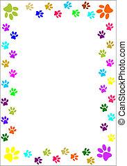 Paw prints border. - Colourful paw prints border.