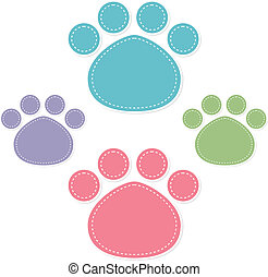 paw prints color on white background