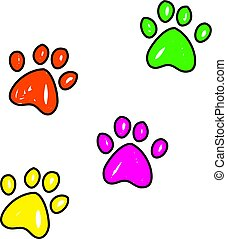 paw prints - Colourful whimsical drawing of dog paw prints...