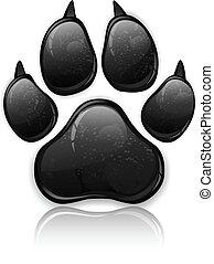 Paw Prints - Black animal paw print isolated on white,...