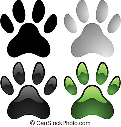 Paw prints vector set isolated on white background.