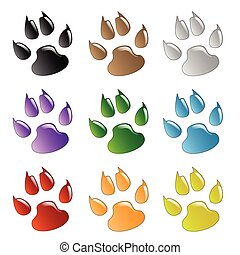Paw Prints - Illustration animals paws print on a white...