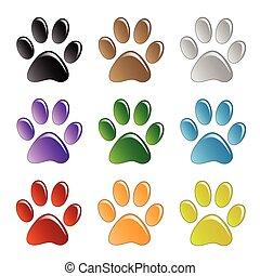 Illustration paw prints dogs in different colors.