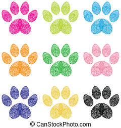 Paw Prints - Illustration paw prints dogs in different ...