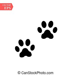 Paw Prints. Logo. Vector Illustration. Isolated vector Illustration. Black on White background. EPS10 Illustration. - Vector illustration